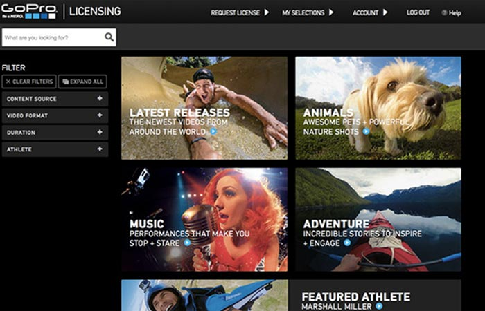 The GoPro Premium Content Licensing Portal features