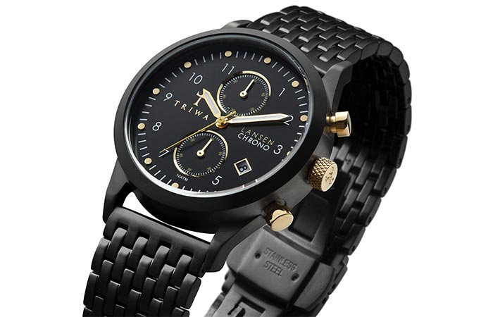 Triwa Unisex Midnight Lansen Chrono Black Bracelet Watch color combo