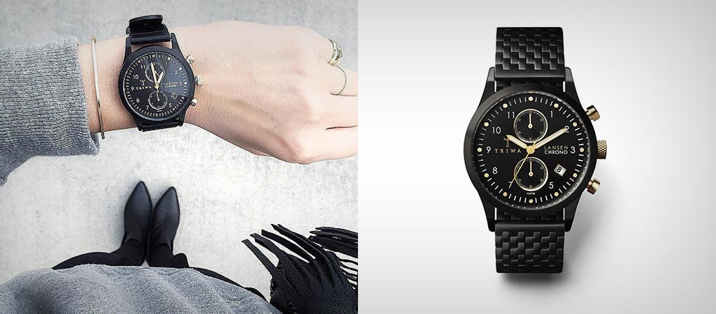 Triwa Unisex Midnight Lansen Chrono Black Bracelet Watch