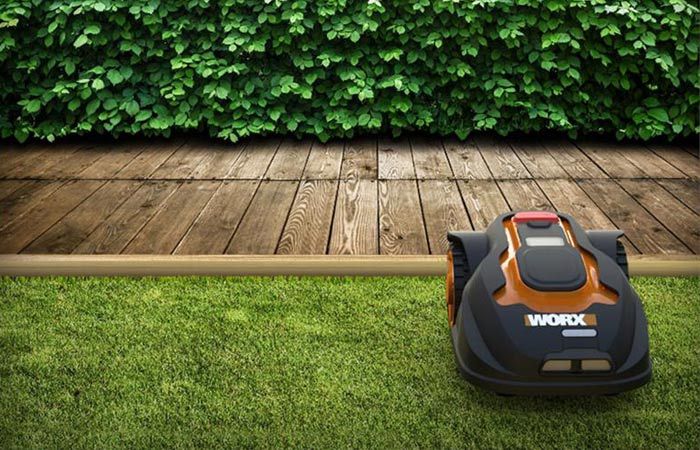 Worx Landroid robot lawn mower avoids obstacles