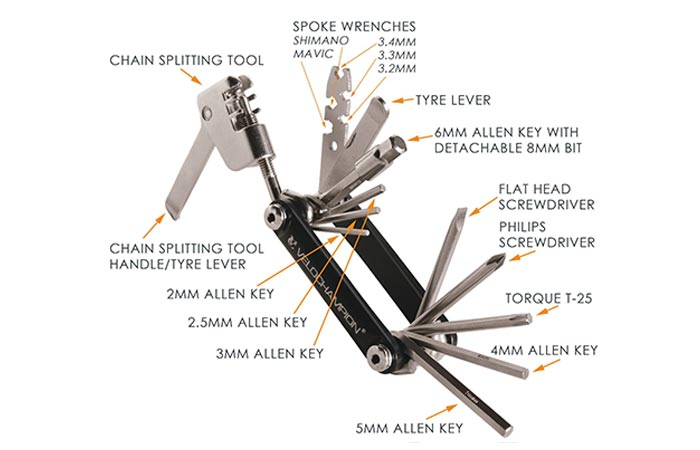 Velo Champion Multifunctional Bike Tool tool list