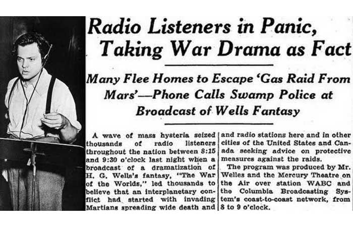 "Radio drama ""War of the worlds"" in New York Times"