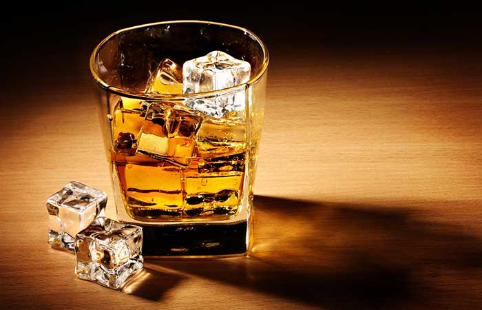 A glass of whiskey on the rocks