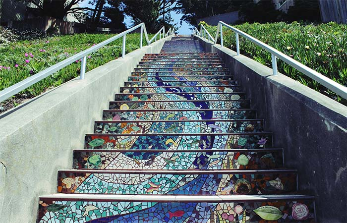 Moraga St & 16th Avenue mosaic tile blue stairs