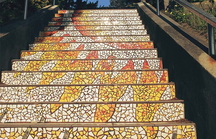Moraga St & 16th Avenue mosaic tile orange stairs