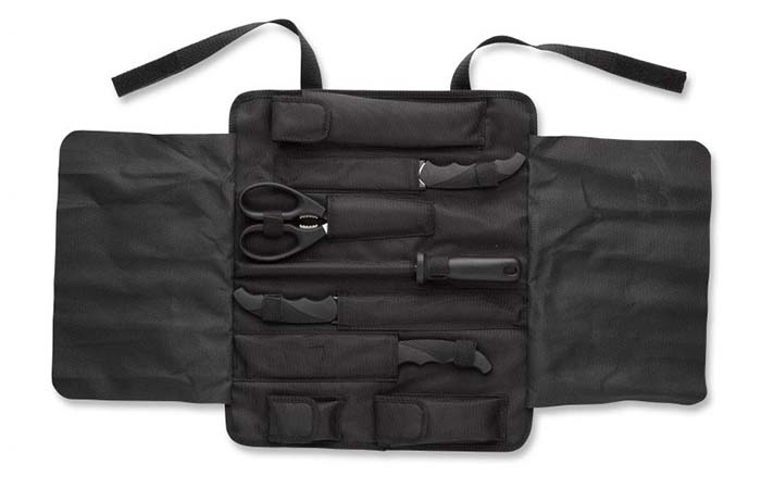 The black Browning Butcher Kit bag opened
