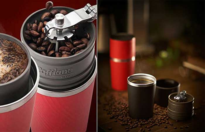 Cafflano cofee maker in use