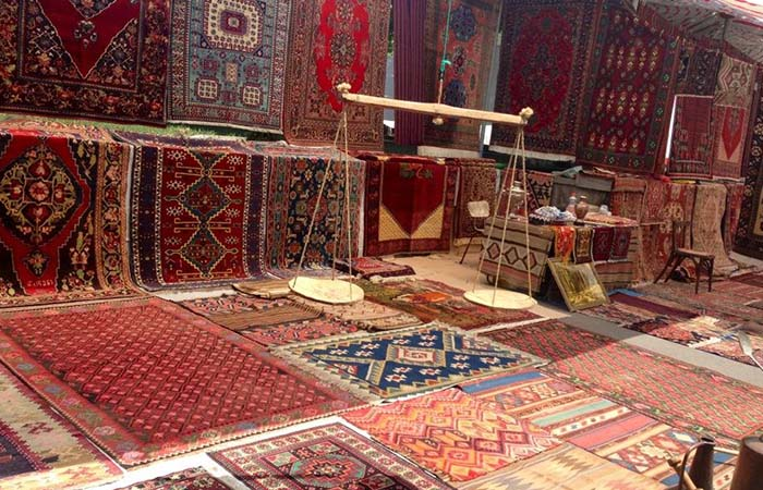 Yerevan flea market different carpets