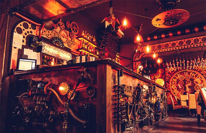 The steampunk bar in Enigma Cafe, Romania