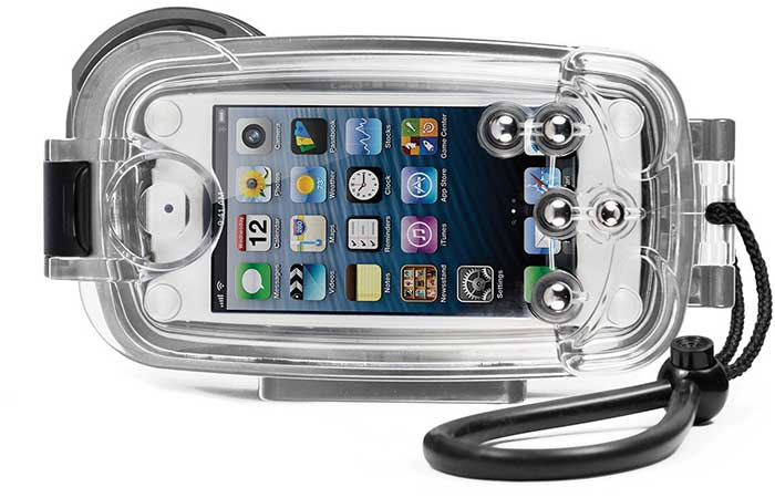 The iPhone Underwater Waterproof Housing/Case with an iPhone inside