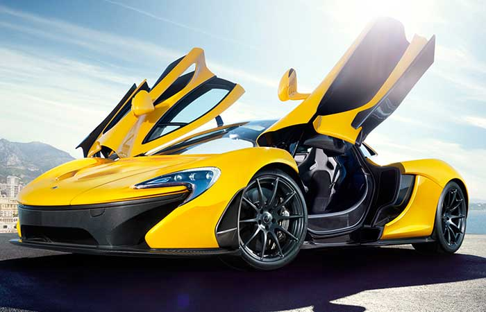 Yellow McLaren P1 with open doors