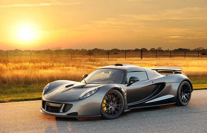 Hennessey Venom GT in the sunset