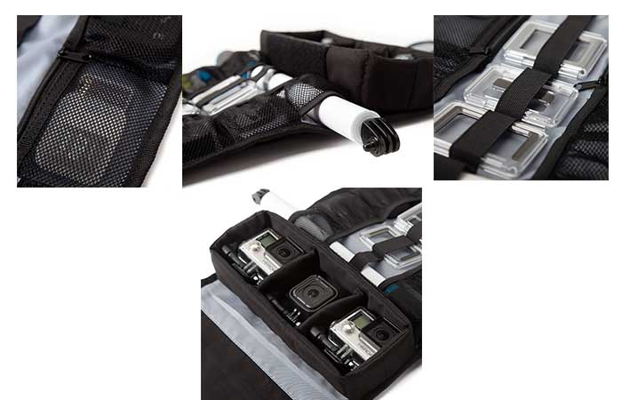 Parts of Weather Resistant Roll-Up Case for GoPro Cameras by GoPole inside
