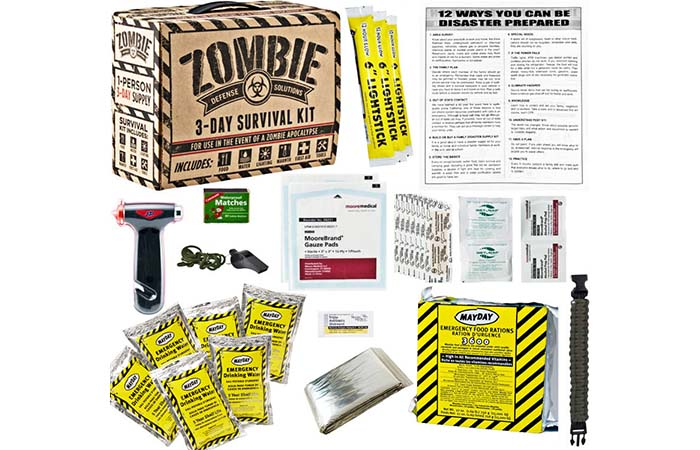 Everything you get in Voodoo Tactical Zombie 3 Day Survival Disaster Kit
