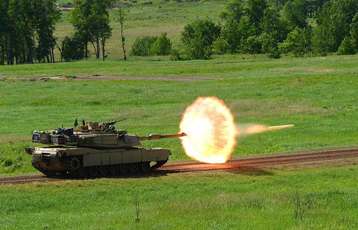 A tank opening fire