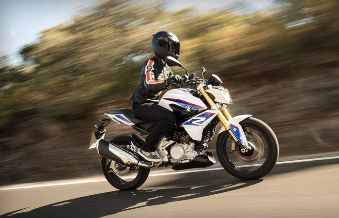 Woman riding a BMW G310 R