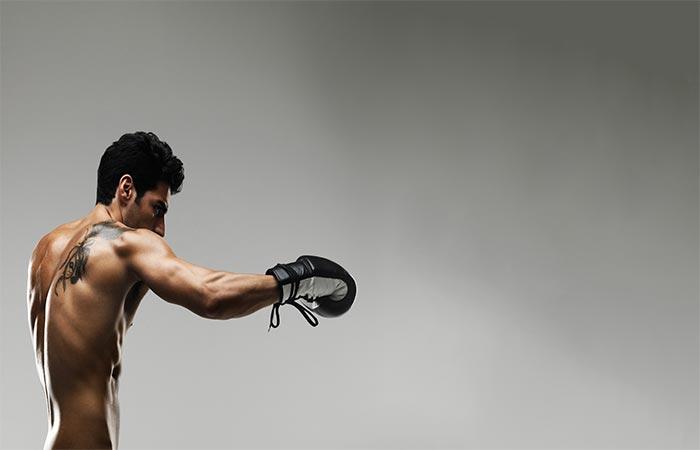A gut practicing mixed martial arts