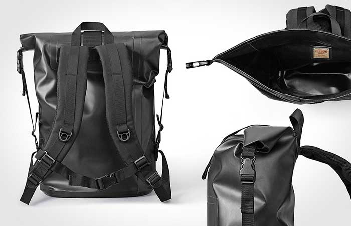 Dry Day Backpack back, side and open