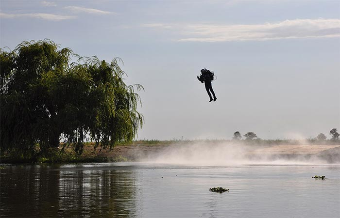 A guy trying out JB-9 Personal Jetpack