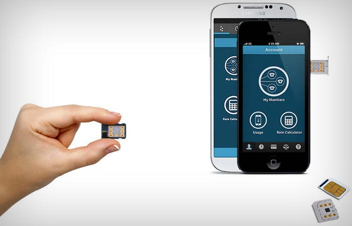Two smartphones and a hand holding KnowRoaming SIM Card