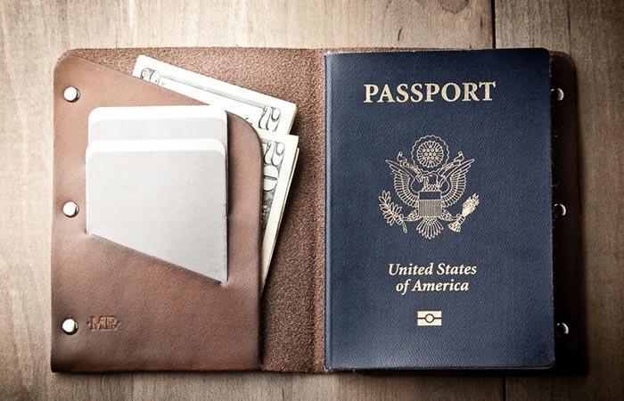 Mr. Lentz Passport Wallet open with passport and money