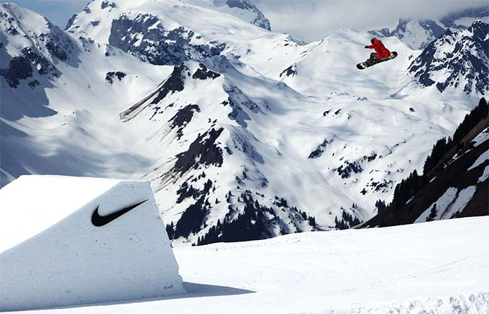 snowboarding on Nike ramp