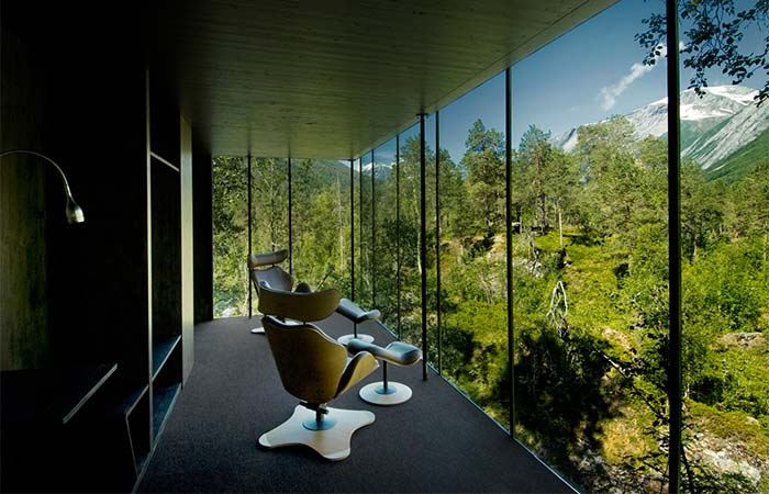 Relaxing Chairs Next To The Window At Norway's Juvet Landscape Hotel