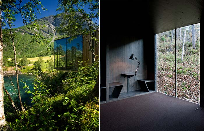 The room next to the river and the minimal and dark room interior