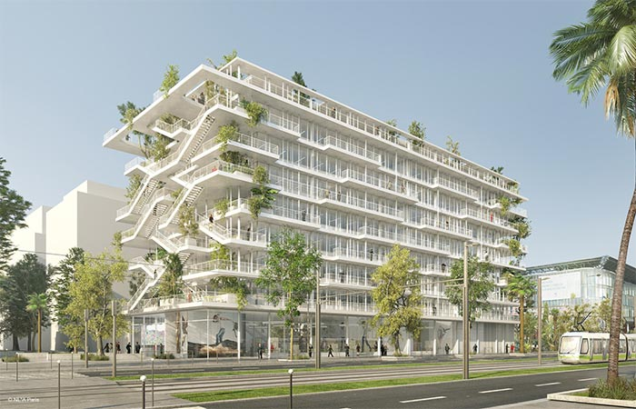 Open Concept Green Office Building In France From The Outside