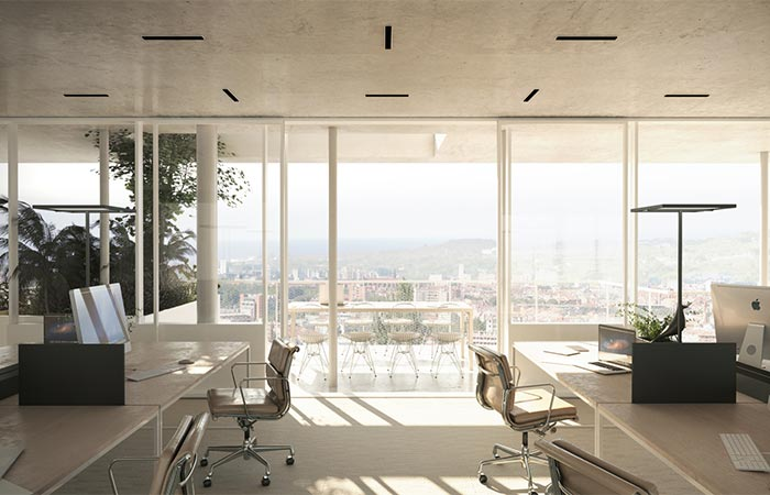 Inside f The Office In Open Concept Green Office Building In France