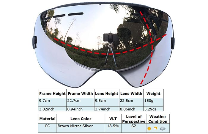 Snow Goggles with Detachable Lens By Zionor features
