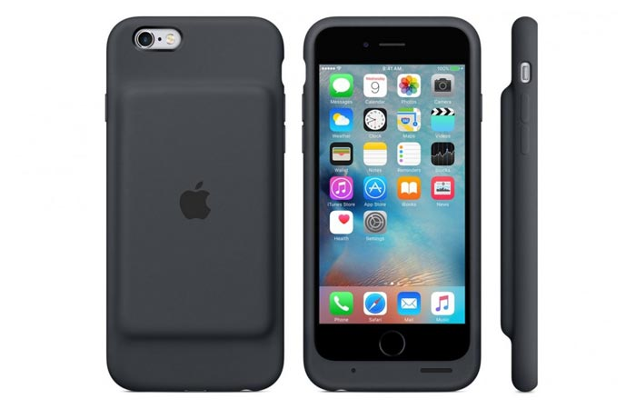 iPhone 6s in Smart Battery Case in white and charcoal gray, back and front view.