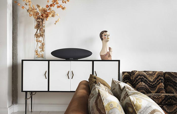 Bowers & Wilkins Zeppelin Wireless Speaker Placed On A Shelf