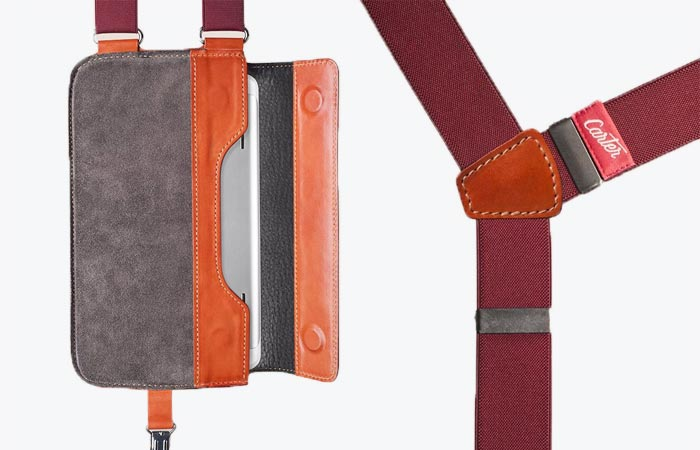 Carter Shoulder Holster for tablet, open, with straps, on a white background.