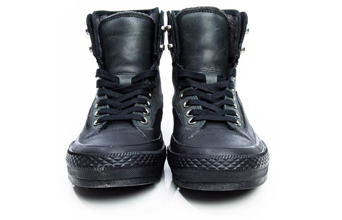 Chuck Taylor All Star Tekoa Boot s, black, front view, on a white background.