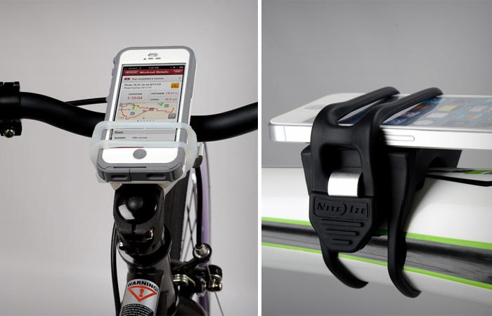 A smartphone attached to a bicycle via HandleBand, horizontally and perpendicularly. Gray background.