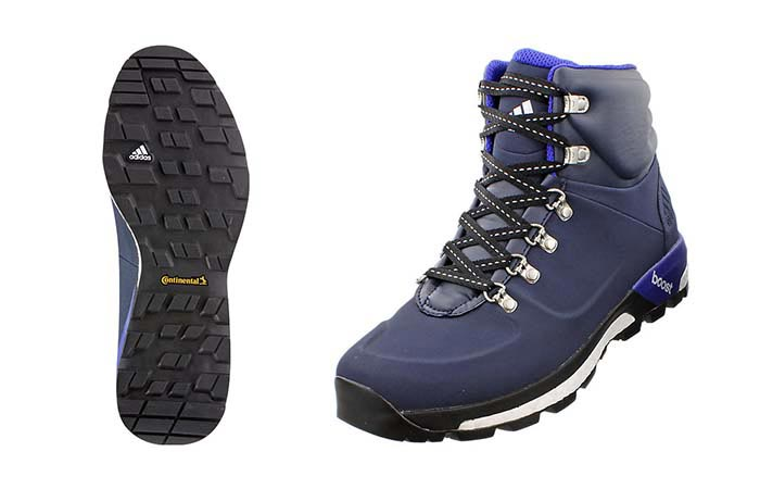 The Boost Urban Hiker Boots by Adidas , navy black, bottom and side view.