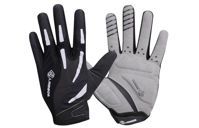 The Gel Padded Super Breathable Gloves, black and gray side, on a white background.
