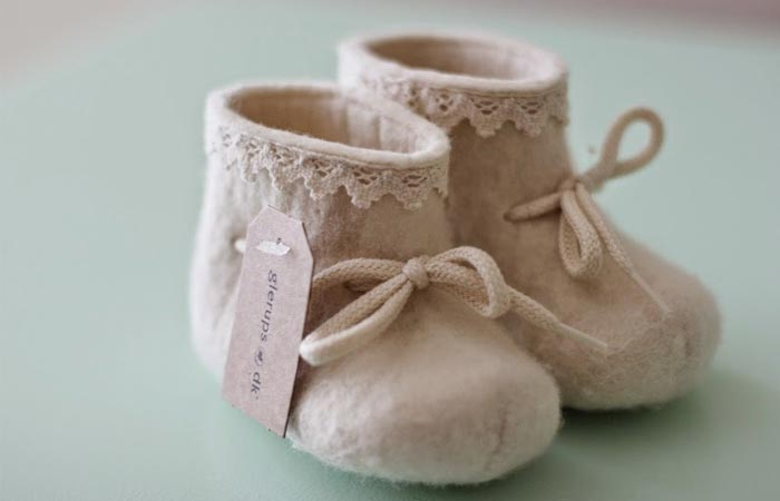 Glerups baby booties with laces.