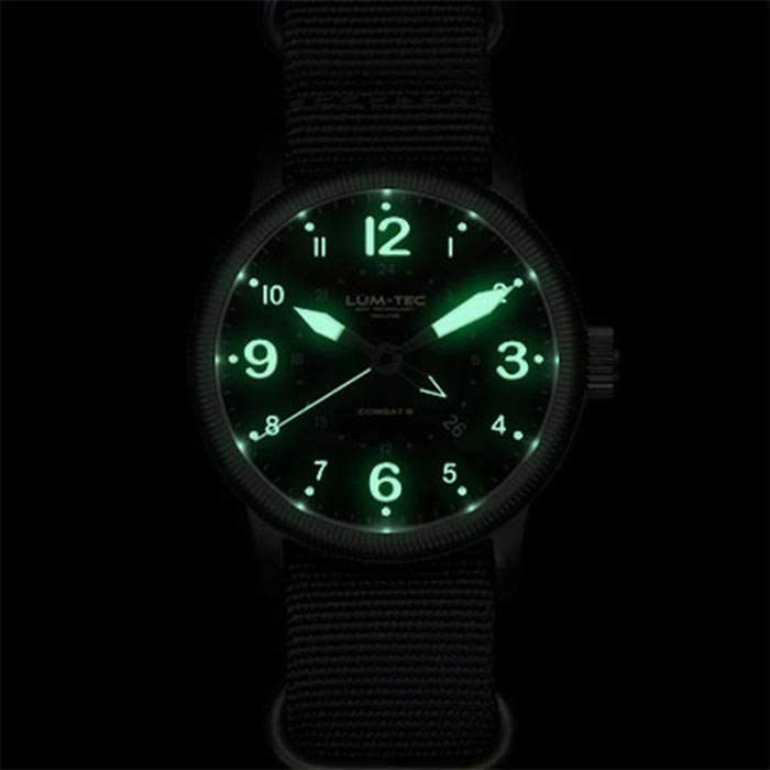 Watch captured glowing in the dark.