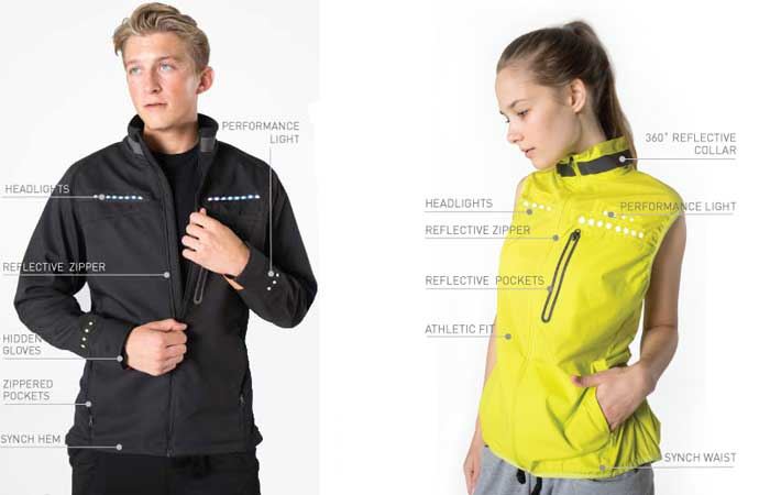 Lumenous commuter Coat, black, worn by a man, with features mapped out, and yellow Performance vest worn by a woman, with features, on a white background.
