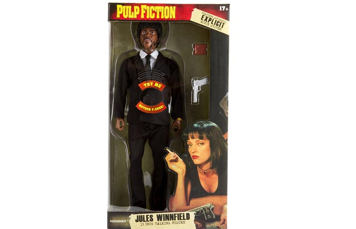"Pulp Fiction Jules Winnfield 13"" Explicit Talking Figure in original packaging."