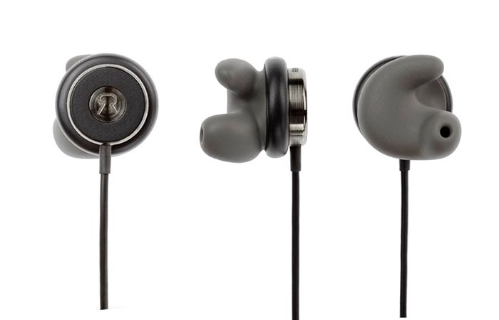 Three earphones photographed in three different positions.