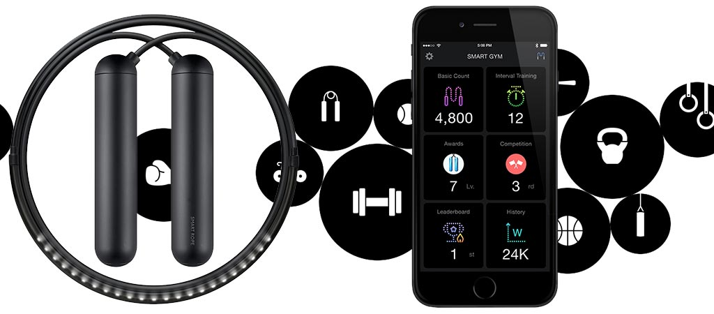 Smart Rope Skipping Rope with Integrated LED Lights and Accompanying App