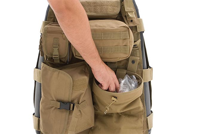 Storing things in pouches of Smittybilt Tactical G.E.A.R. Seat Covers