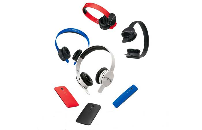 1430-00 Tracks Air Wireless On-Ear Headphones by Sol Republic, all colors, along with smartphones, spread around on a white background.