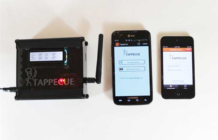 Tappecue device and two smartphones on a white background.