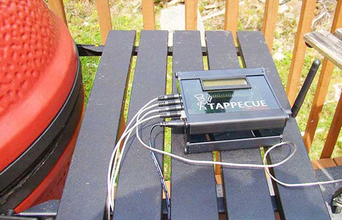 Tappecue device on a bench outside, with probes cables plugged in.
