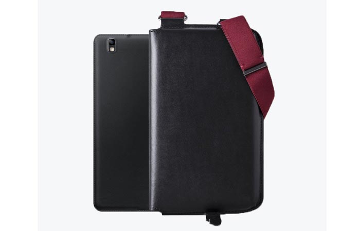Carter Shoulder Holster, black, with a tablet, on a white background.