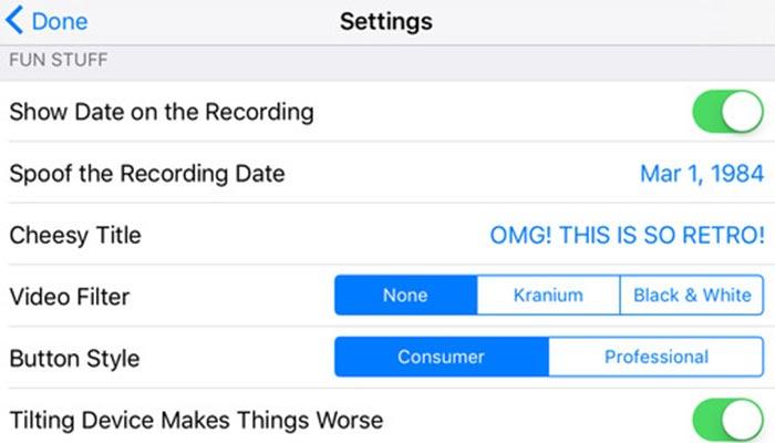 Options inside the App.